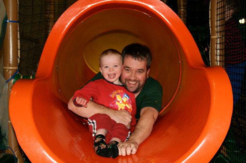 Patrick and Finn in slide.