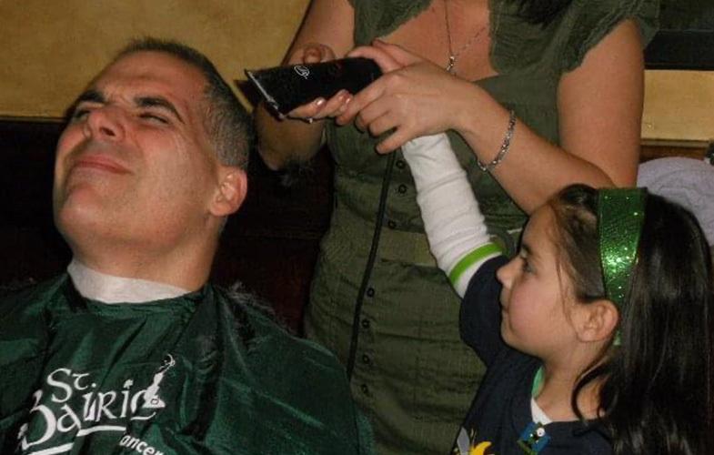 kids shaving dads head