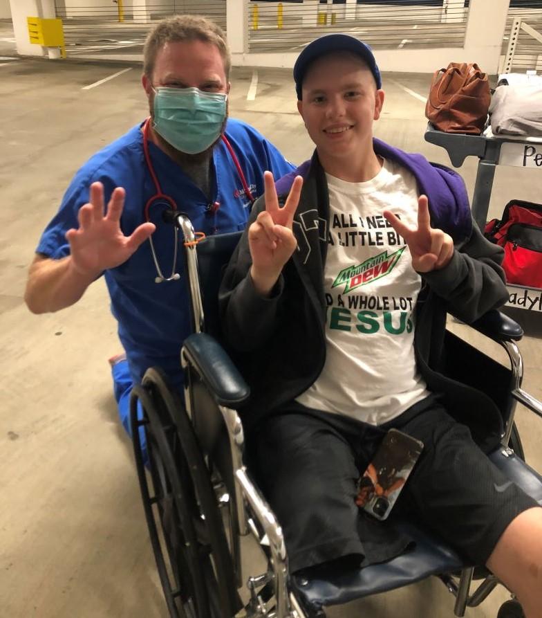 Honored Kid, Michael G leaving the hospital.