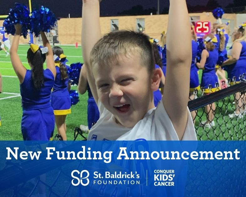 child cheering text says New Funding Announcement